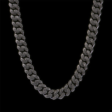 19mm Black Iced Cuban Link Chain 20''