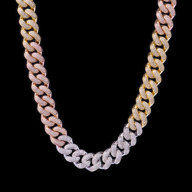 19mm Tri-Colored Iced Cuban Link Chain 24''