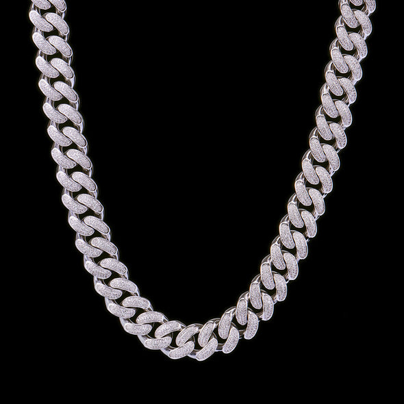 19mm White Gold Iced Women Cuban Choker Chain