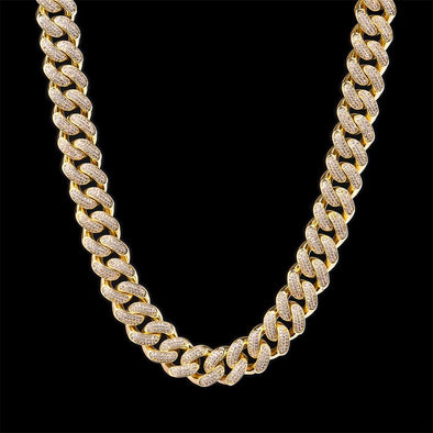 "18"" 19mm 14K Gold Iced C uban C hain"