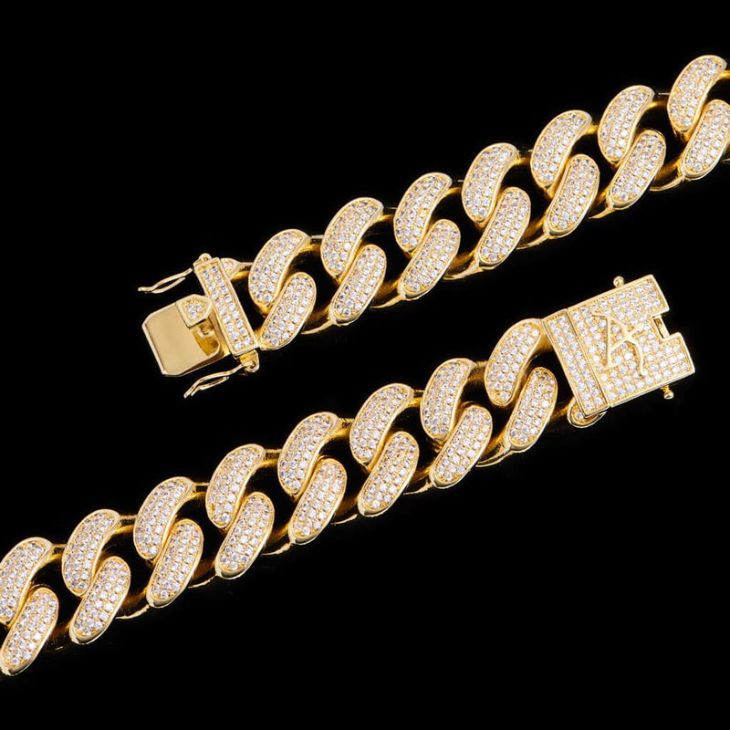 19mm New 14K Gold Iced Women Cuban Link Chain