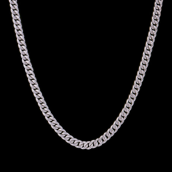 8mm White Gold Iced Cuban Link Chain