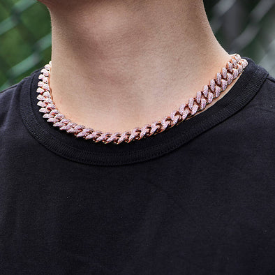 12mm Rose Gold Iced Cuban Link Chain