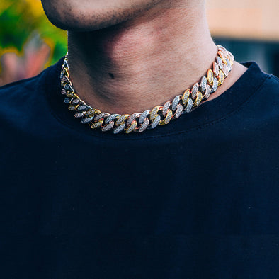15mm New Tri-Colored Iced Cuban Link Chain