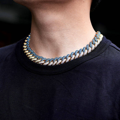 [MADE TO ORDER] 15mm Iced Two Tone Cuban Link Chain-Light Blue&White