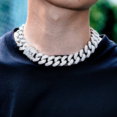 19mm White Gold Iced Cuban Choker Chain