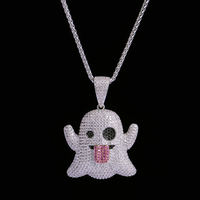 White Gold Iced Ghost Emoji Pendant