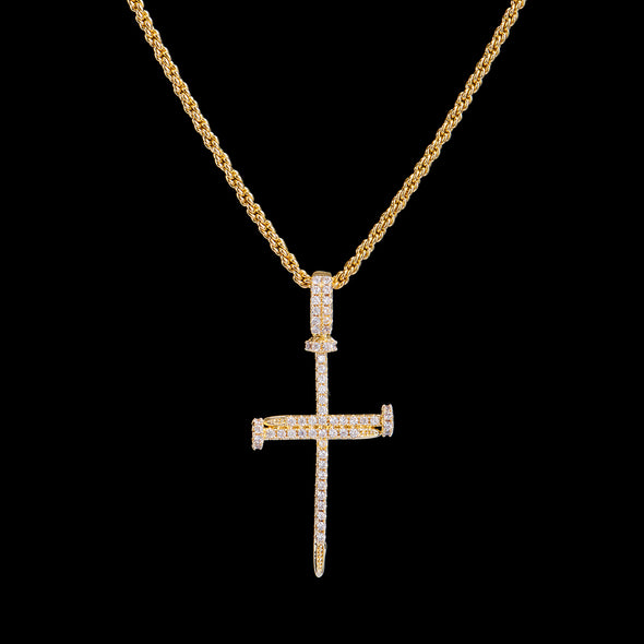 14K Gold Iced Nail Cross