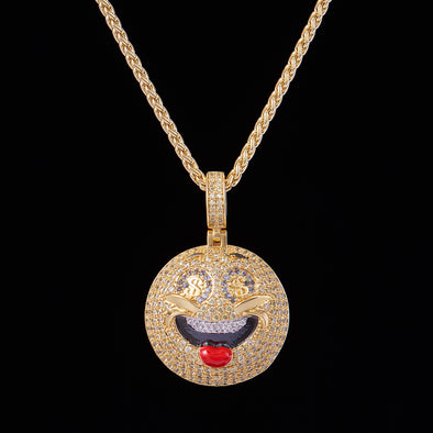 14K Gold Iced Smiley Face With Money Emoji