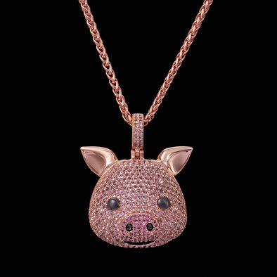 14K Gold Iced Pig Face Emoji