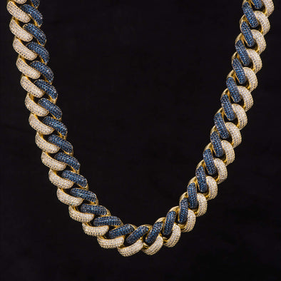 19mm Iced Two Tone Cuban Link Chain-Dark Blue&White