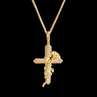 14K Gold Iced Rose Cross (Ship Out on Sep 28th)