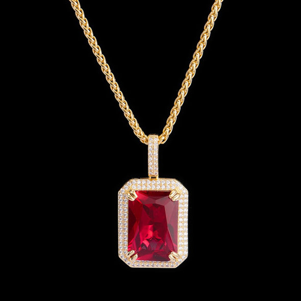 14K Gold Iced Cube Ruby Pendant