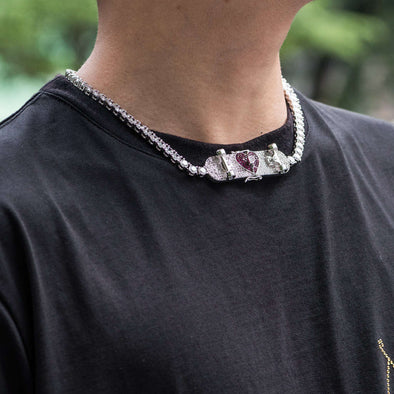 Skateboard With Broken Heart Tennis Choker Chain