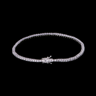 1.9mm White Gold Iced Tennis Bracelet