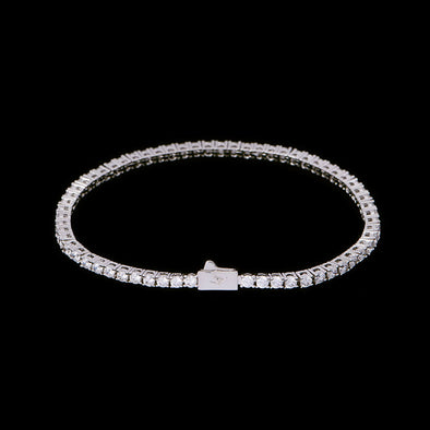 3mm White Gold Iced Tennis Bracelet