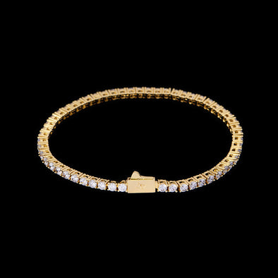 3mm 14K Gold Iced Tennis Bracelet