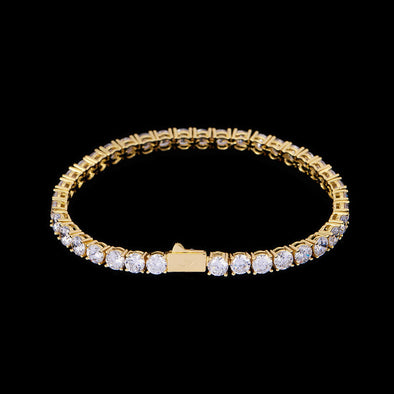 5mm New 14K Gold Iced Tennis Bracelet