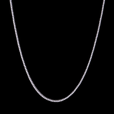 "24"" 1.9mm White Gold Single Row Tennis Chain"
