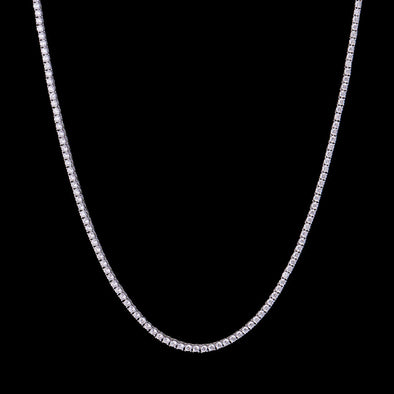 3mm White Gold Iced Tennis Choker Chain