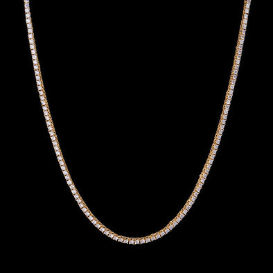 3mm 14K Gold Iced Tennis Choker Chain
