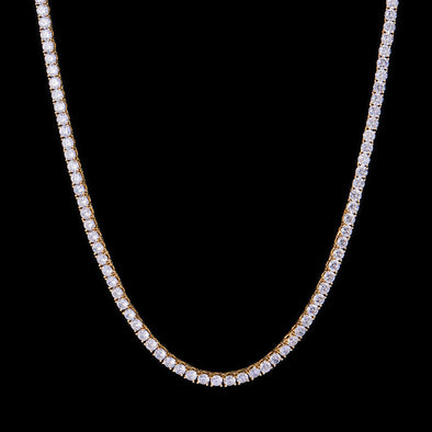 "28"" 5mm New 14K Gold Iced Tennis Chain"