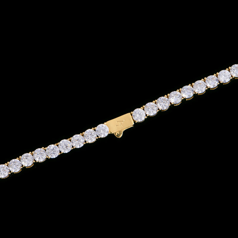 "24"" 5mm New 14K Gold Iced Tennis Chain"