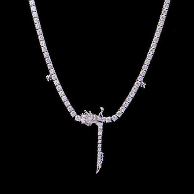 White Gold Chinese Dragon Tennis Chain-Women