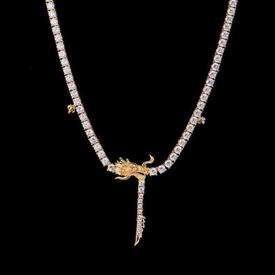 14k Gold Chinese Dragon Tennis Chain-Women