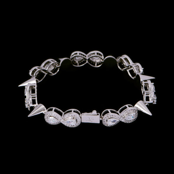 White Gold Iced Thorns Infinity Bracelet