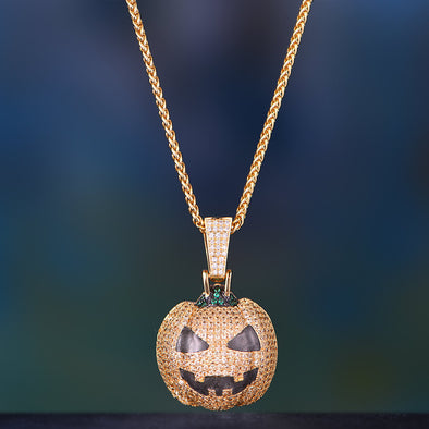 14K Gold Iced Out Luminous Pumpkin Jack Skellington Emoji Pendant
