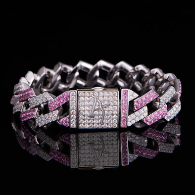 15mm Iced Two Tone Prong Link Bracelet-Pink & White