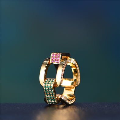 Aporro Jewelry-Iced Out Hermes Link Ring