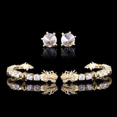 14K Gold 12mm Iced Cuban and 5mm Tennis Bracelet Set
