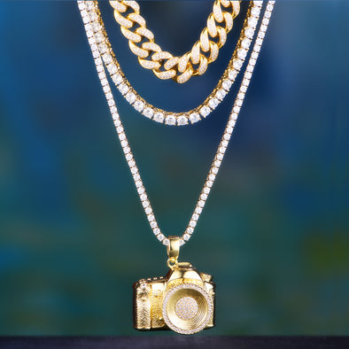 12mm 14k Gold Iced Out Cuban +Tennis+ Camera Set
