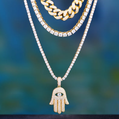 12mm 14k Gold Iced Out Cuban +Tennis+ Hamsa Set