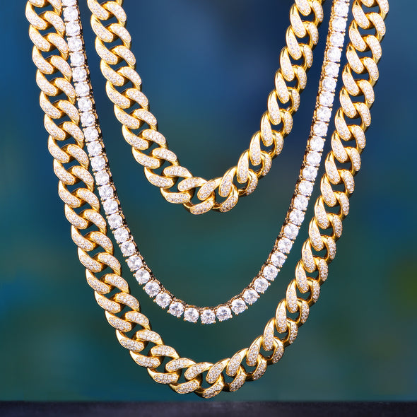 "14K/ White Gold 18"" + 24"" Cuban Chains + 20"" Tennis Chain Set"