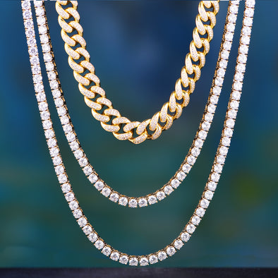 "14K/ White Gold 18"" Cuban + 20""+ 24"" Tennis Chain Set"