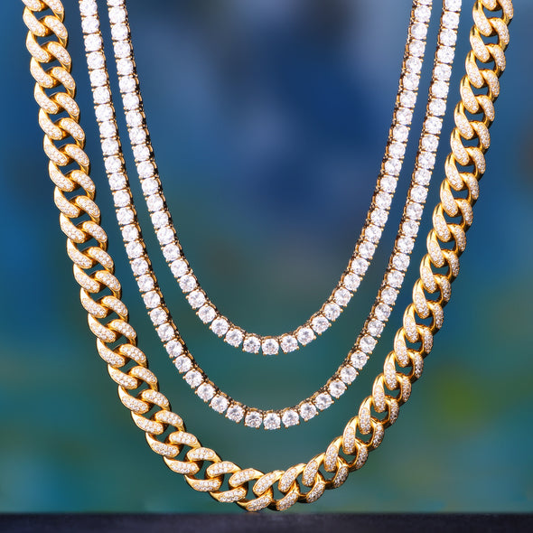 shiny iced out cuban tennis chain Aporro