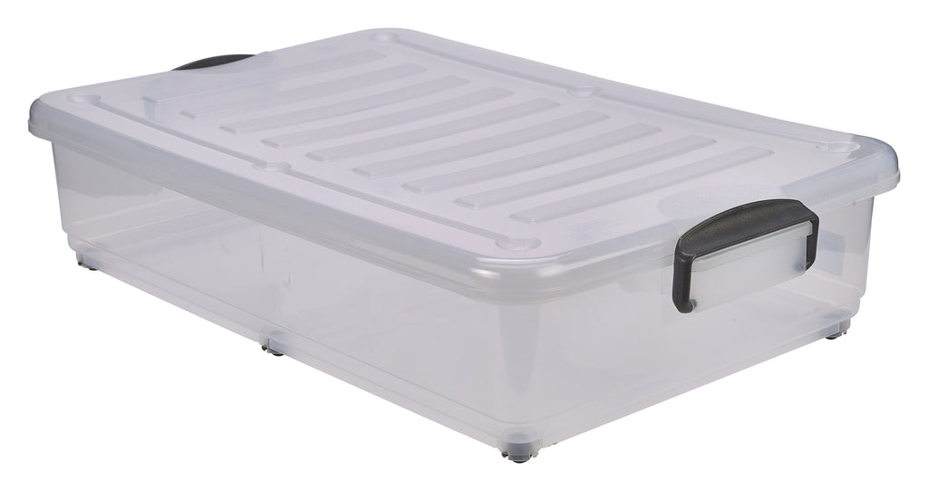 Storage Box 40L W/ Clip Handles On Wheels