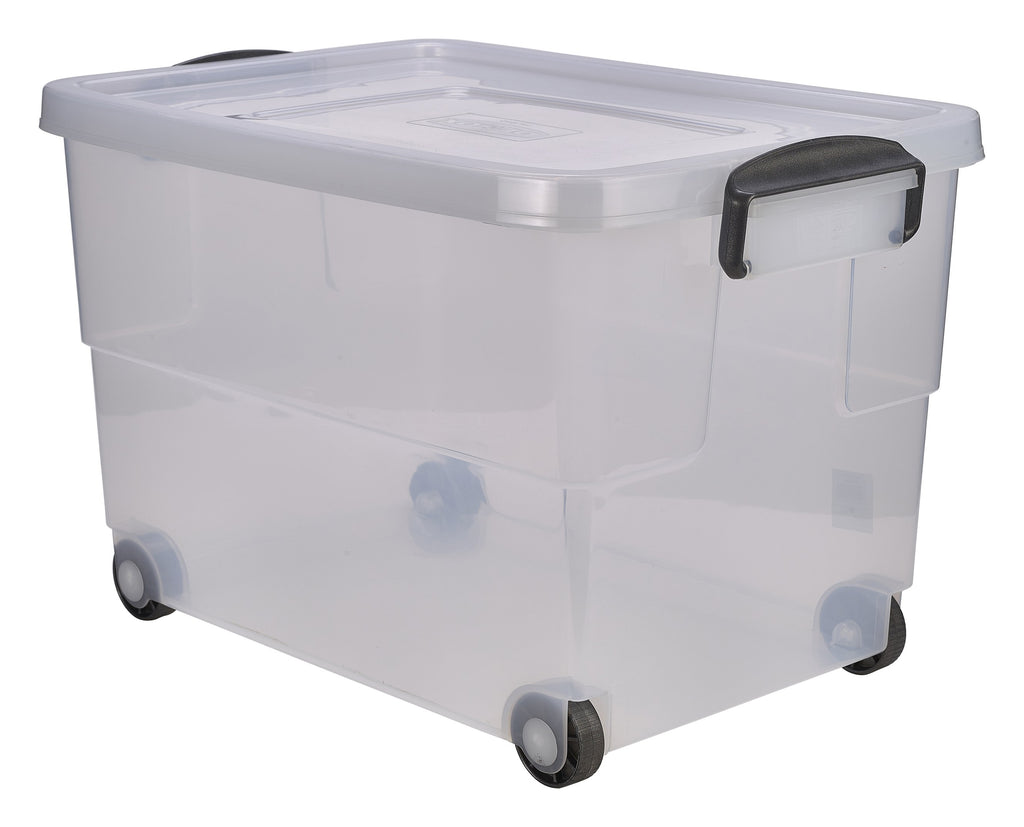 Storage Box 60L W/ Clip Handles On Wheels