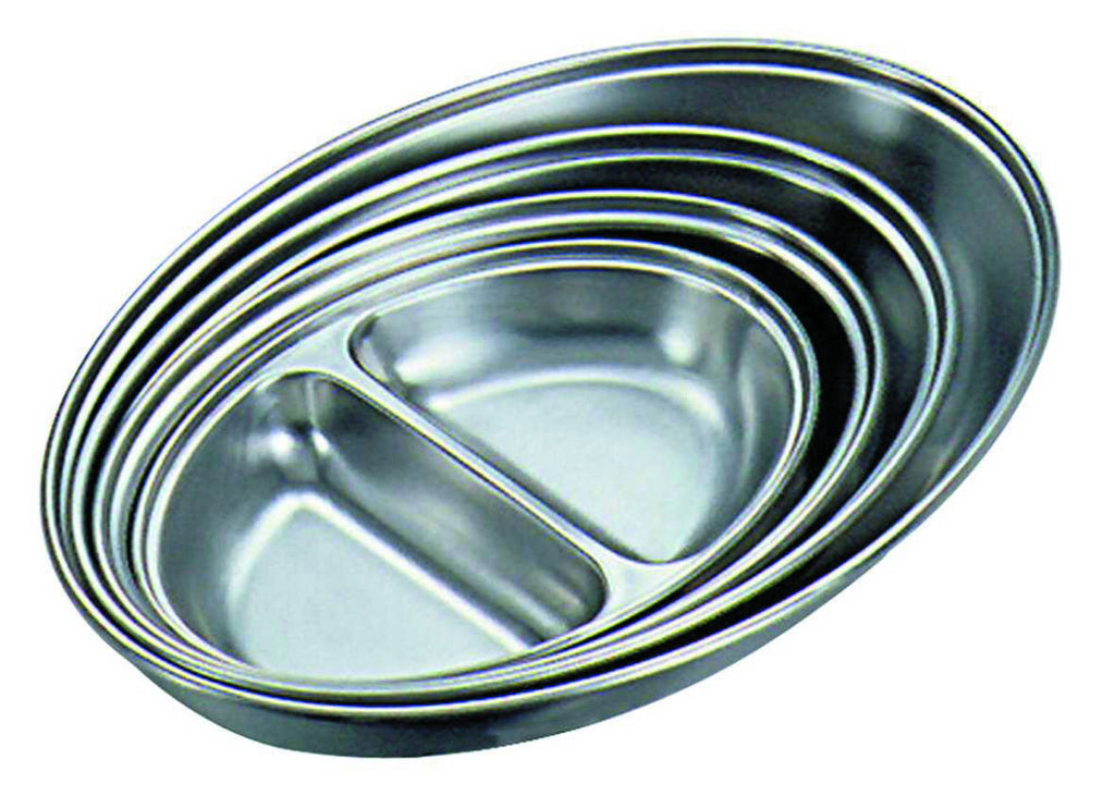 GenWare Stainless Steel Two Division Oval Vegetable Dish 35cm/14""