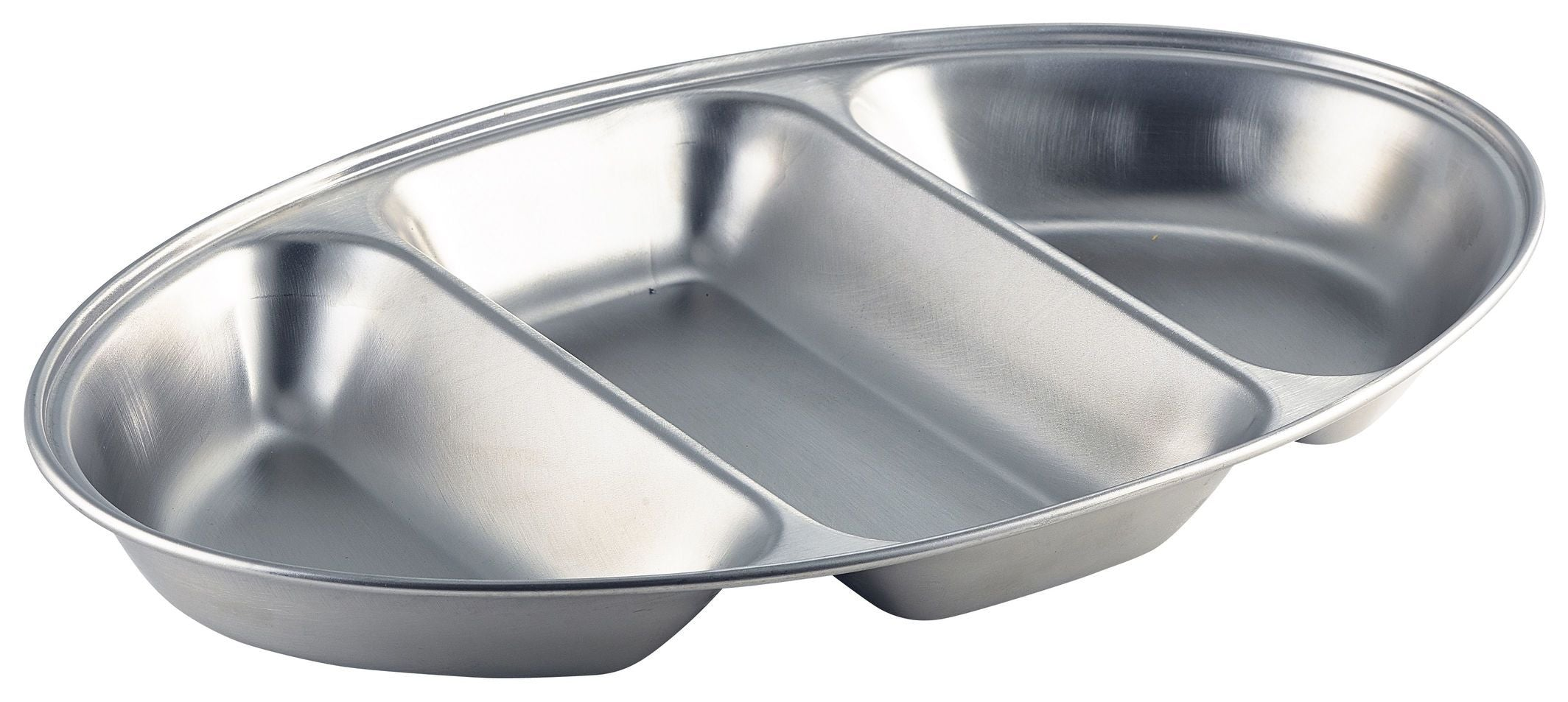 GenWare Stainless Steel Three Division Oval Vegetable Dish 35cm/14""