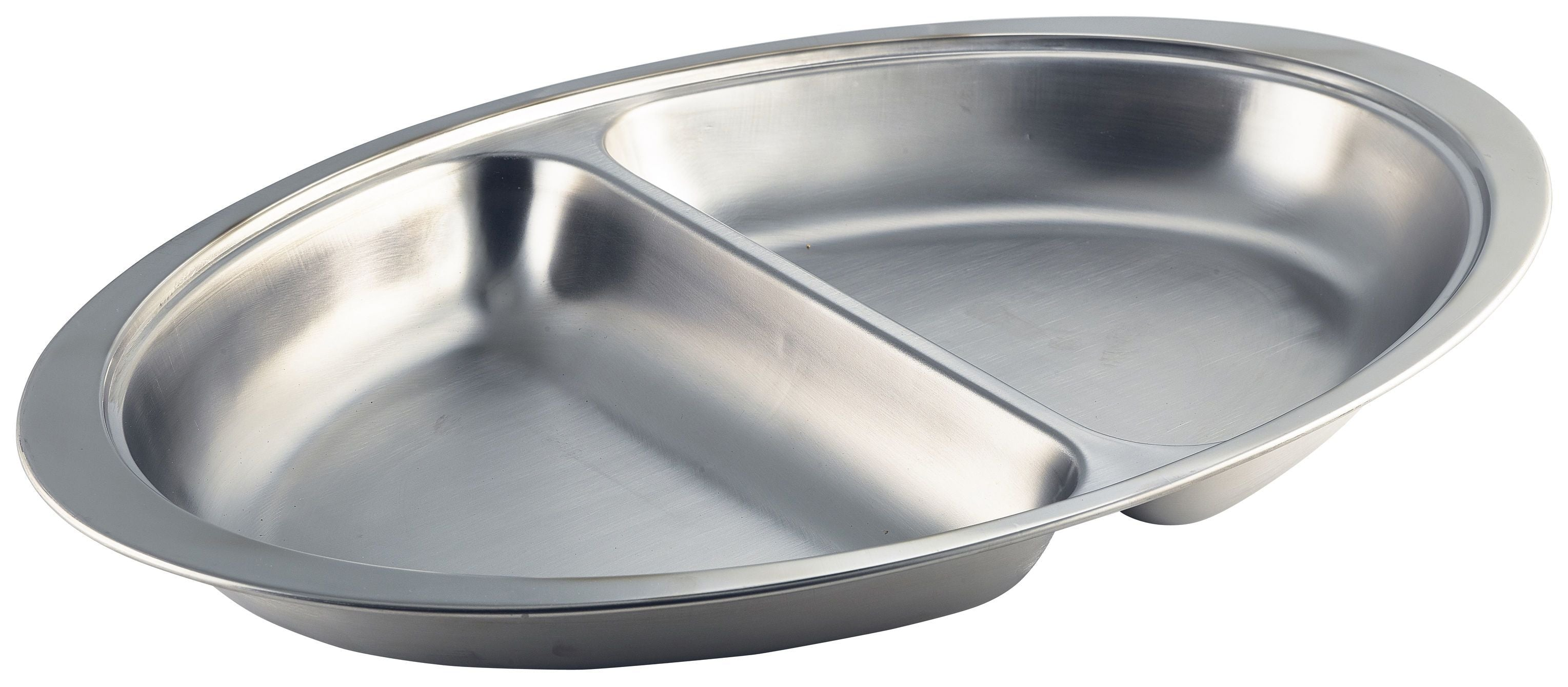 GenWare Stainless Steel Two Division Oval Banqueting Dish 50cm/20""