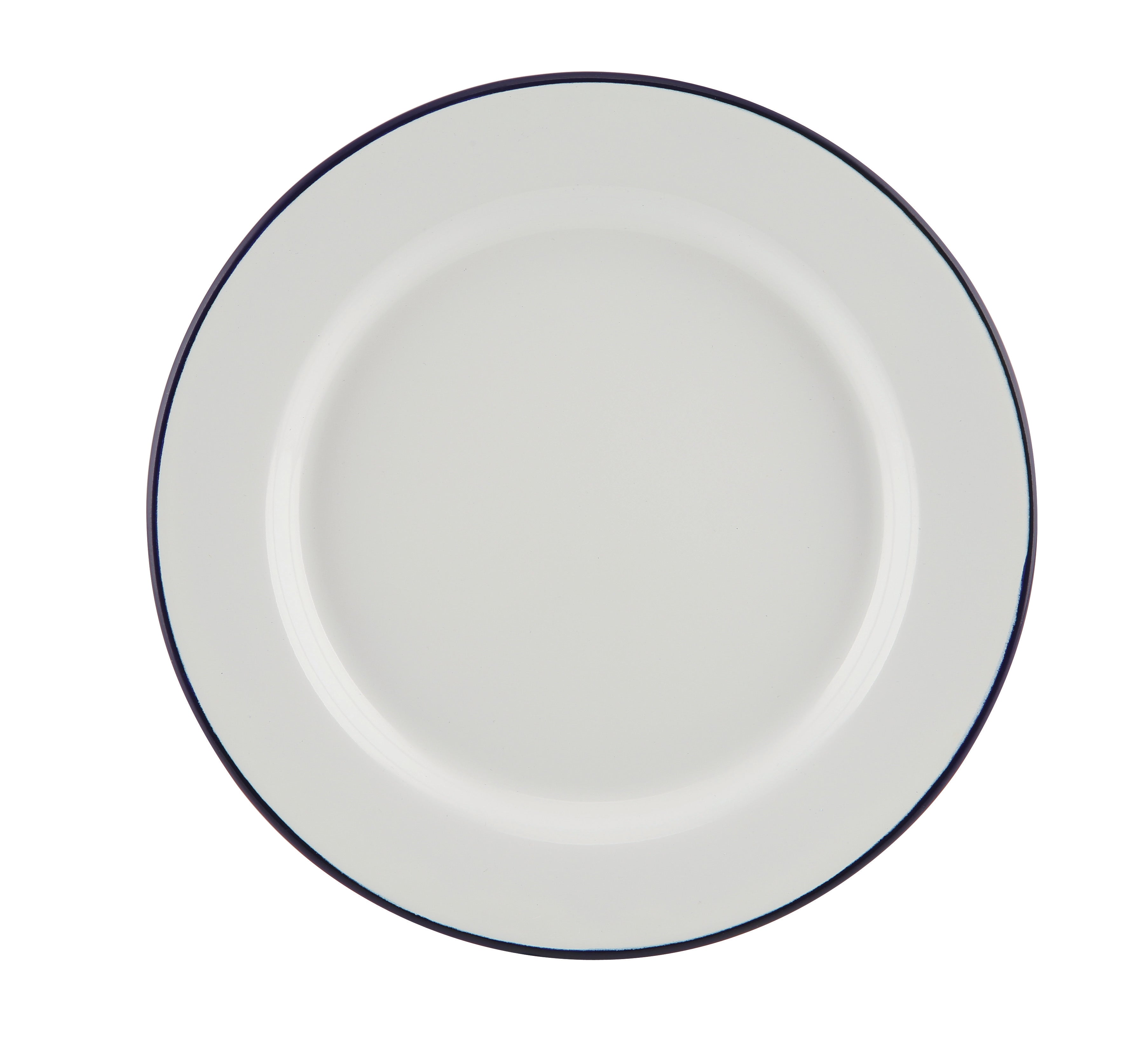 Enamel Wide Rim Plate White & Blue 24cm