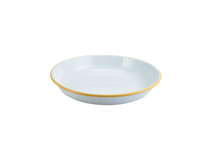 Enamel Rice/Pasta Plate White with Yellow Rim 24cm