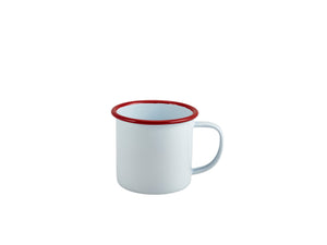 Enamel Mug White with Red Rim 36cl/12.5oz
