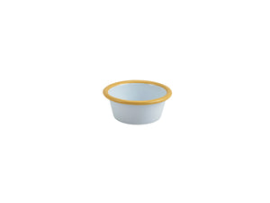 Enamel Ramekin White with Yellow Rim 8cm Dia 90ml/3.2oz