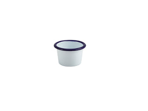 Enamel Ramekin White with Blue Rim 7cm Dia 90ml/3.2oz