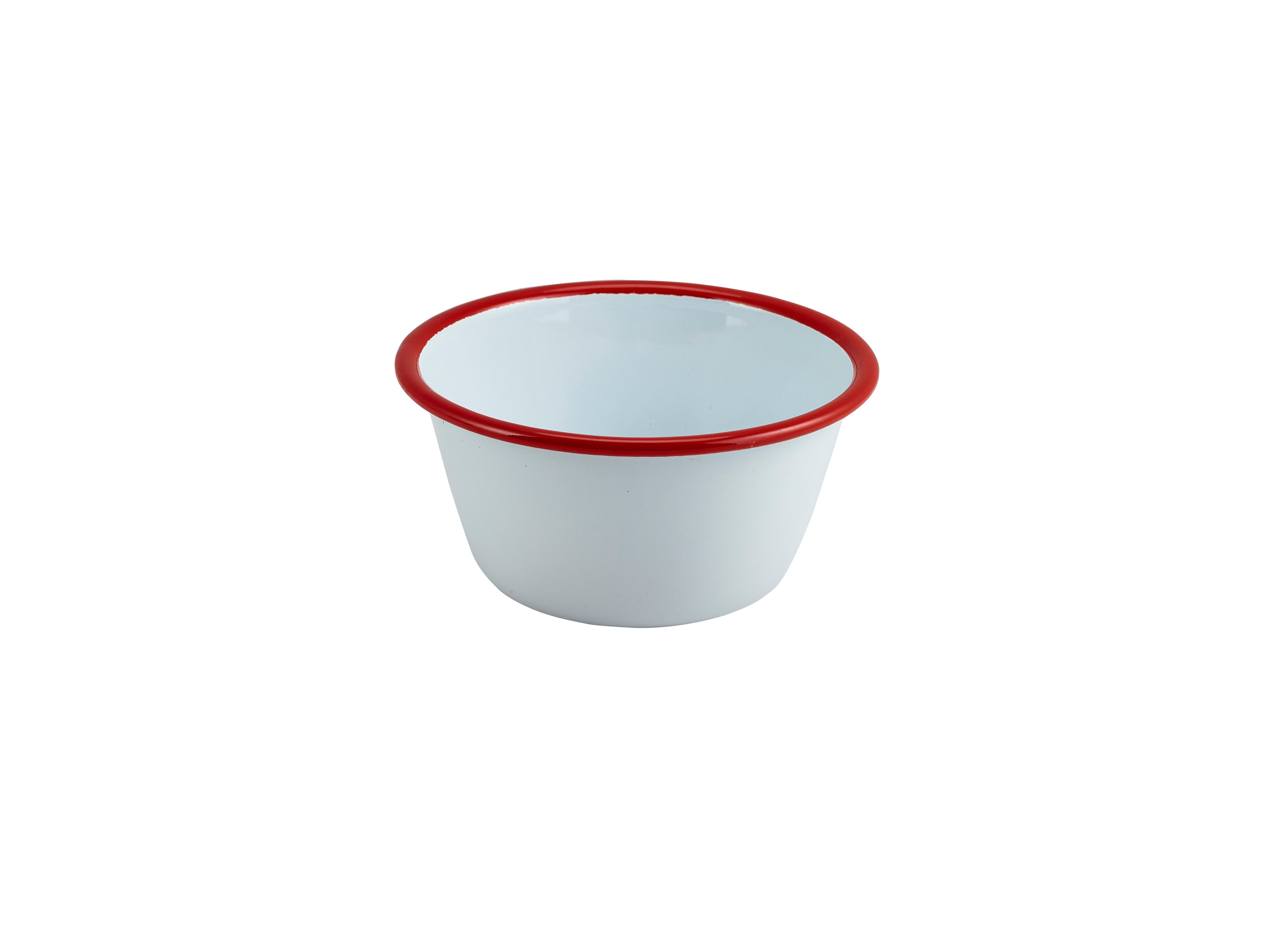 Enamel Round Deep Pie Dish White with Red Rim 12cm